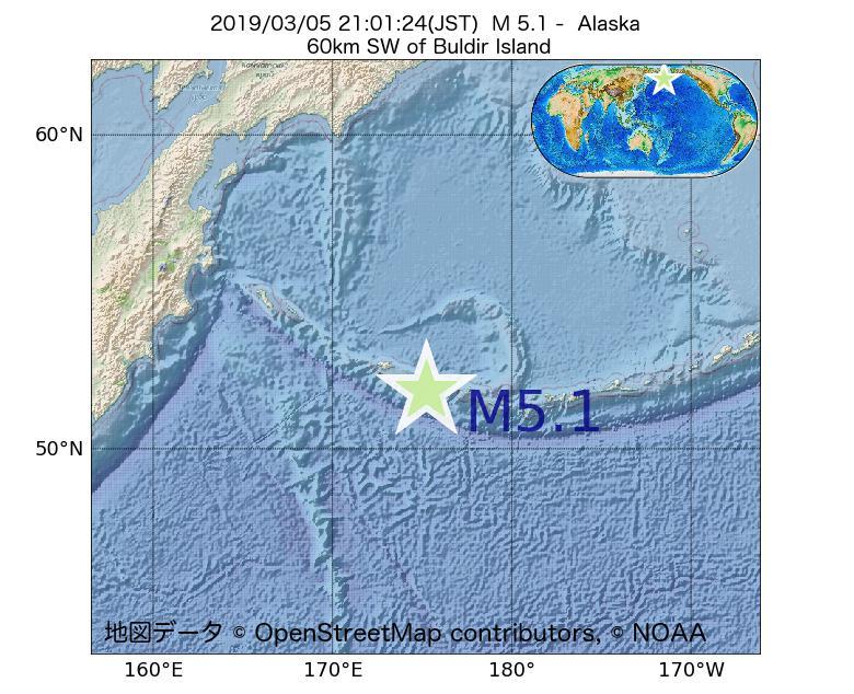 2019年03月05日 21時01分 - アラスカ州でM5.1