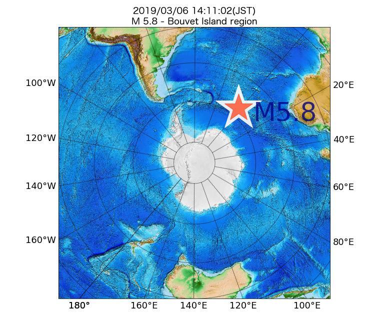 2019年03月06日 14時11分 - Bouvet Island regionでM5.8