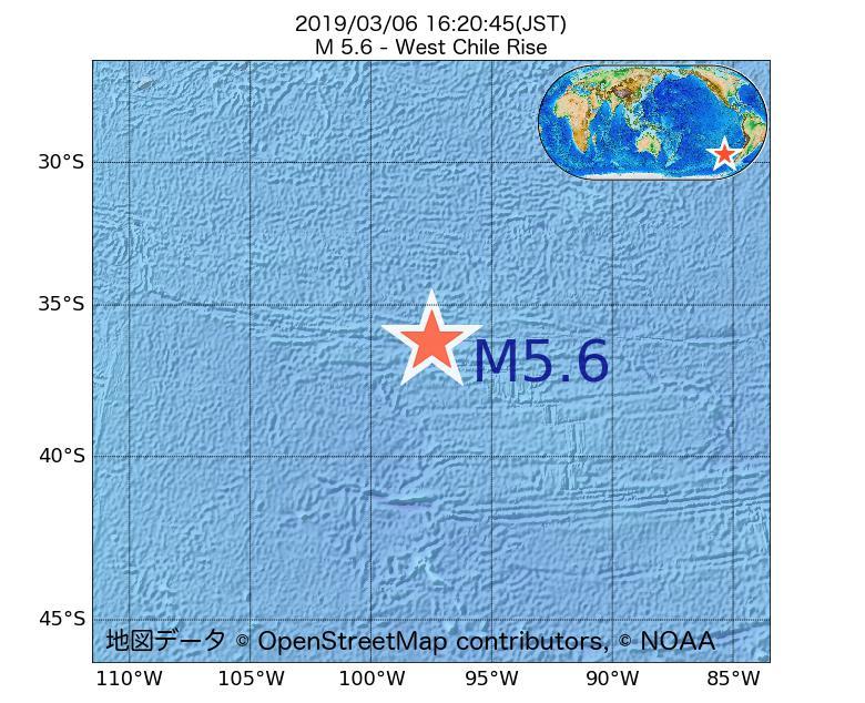2019年03月06日 16時20分 - ガラパゴス諸島チリ海嶺でM5.6