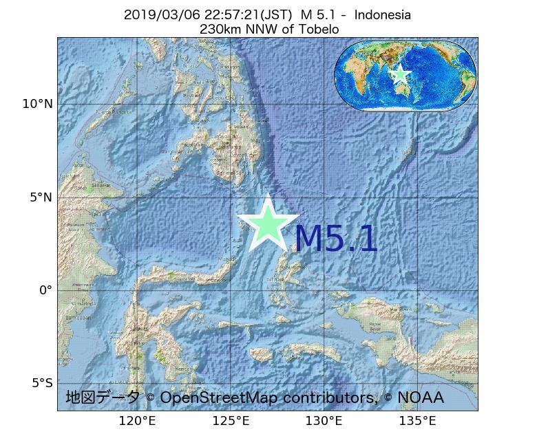 2019年03月06日 22時57分 - インドネシアでM5.1