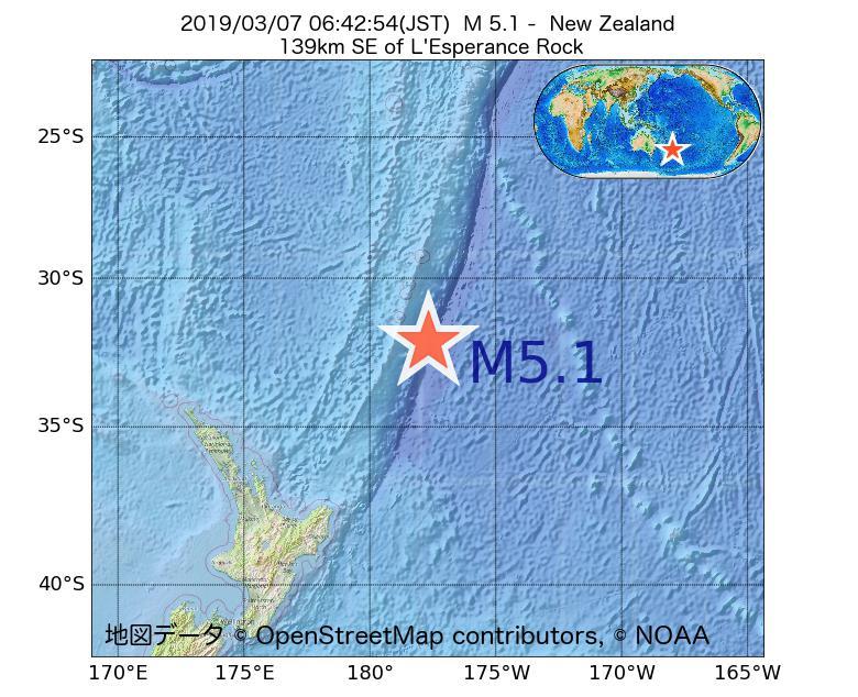 2019年03月07日 06時42分 - ニュージーランドでM5.1