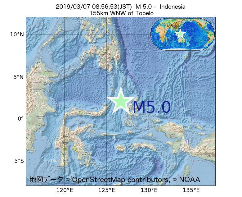2019年03月07日 08時56分 - インドネシアでM5.0