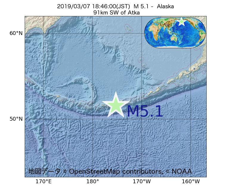 2019年03月07日 18時46分 - アラスカ州でM5.1