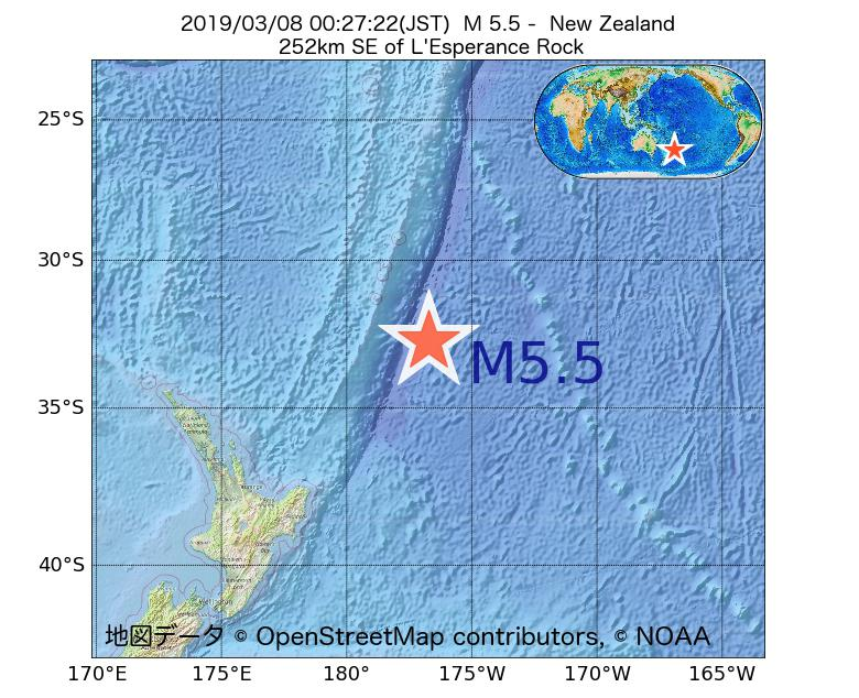 2019年03月08日 00時27分 - ニュージーランドでM5.5