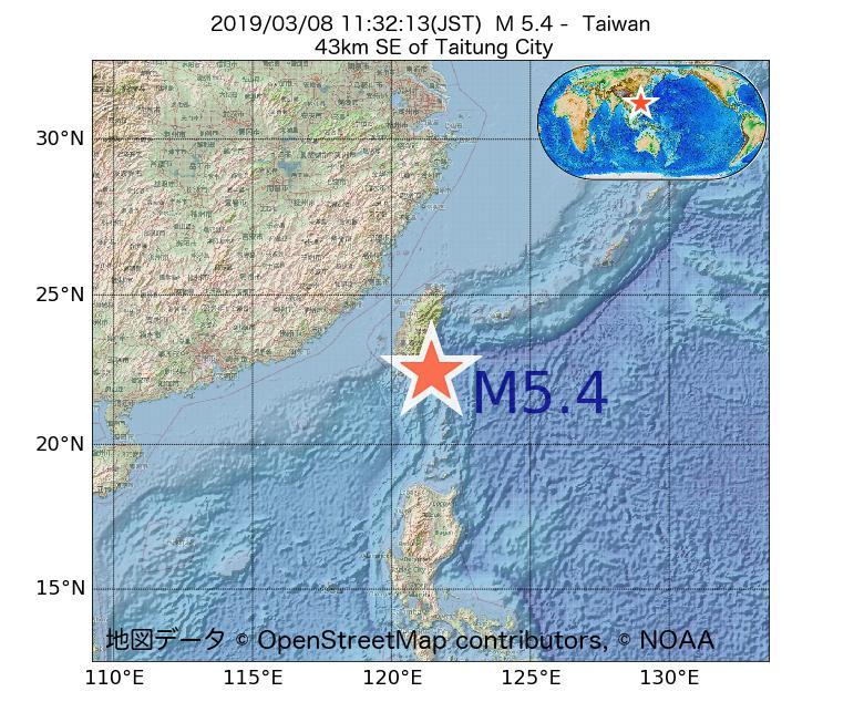 2019年03月08日 11時32分 - 台湾でM5.4