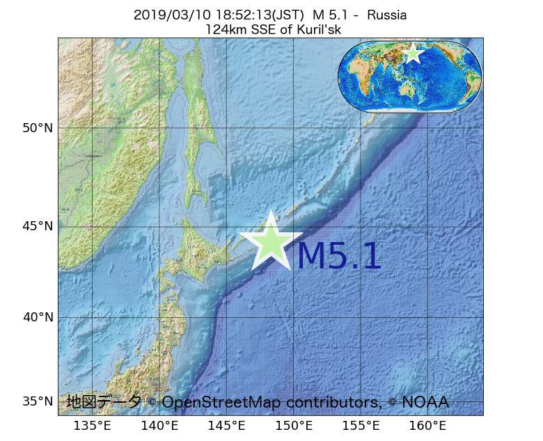 2019年03月10日 18時52分 - ロシアでM5.1
