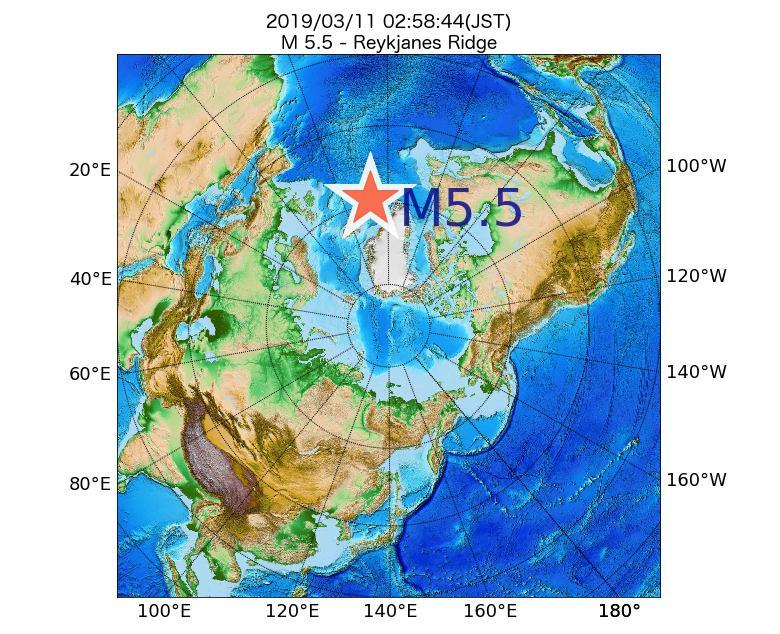 2019年03月11日 02時58分 - レイキャネス海嶺でM5.5