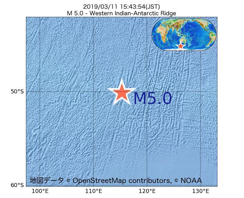 2019年03月11日 15時43分 - 南東インド洋海嶺でM5.0