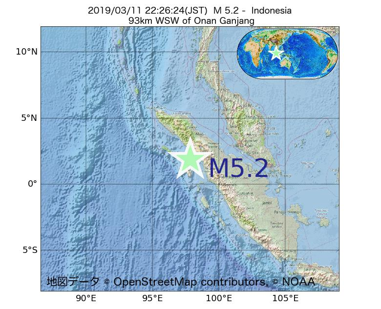 2019年03月11日 22時26分 - インドネシアでM5.2