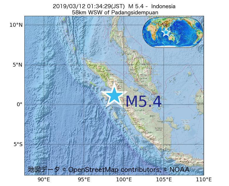 2019年03月12日 01時34分 - インドネシアでM5.4