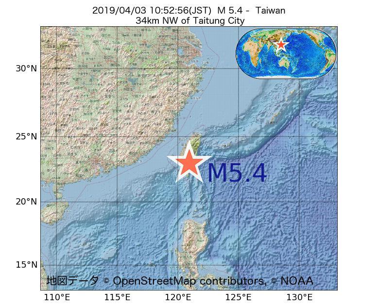 2019年04月03日 10時52分 - 台湾でM5.4
