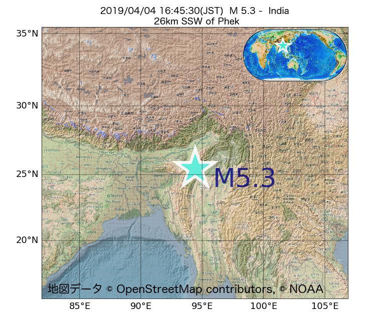 2019年04月04日 16時45分 - インドでM5.3