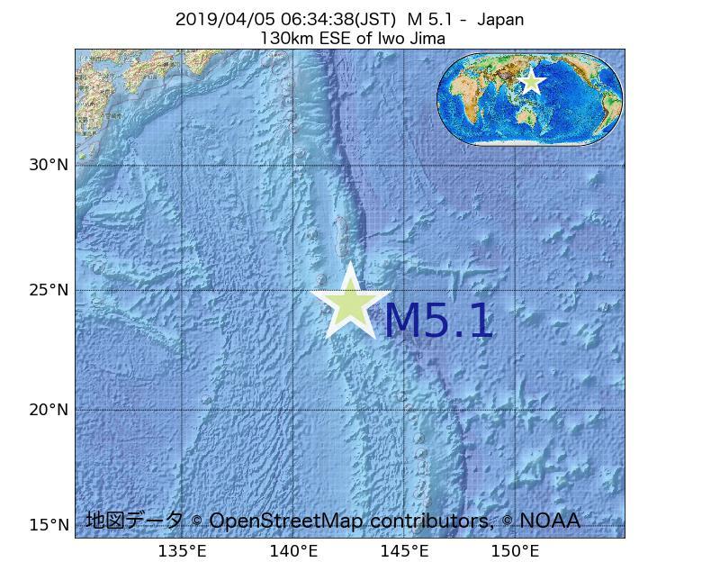 2019年04月05日 06時34分 - 日本でM5.1