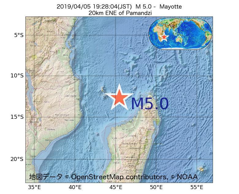 2019年04月05日 19時28分 - マヨット島でM5.0