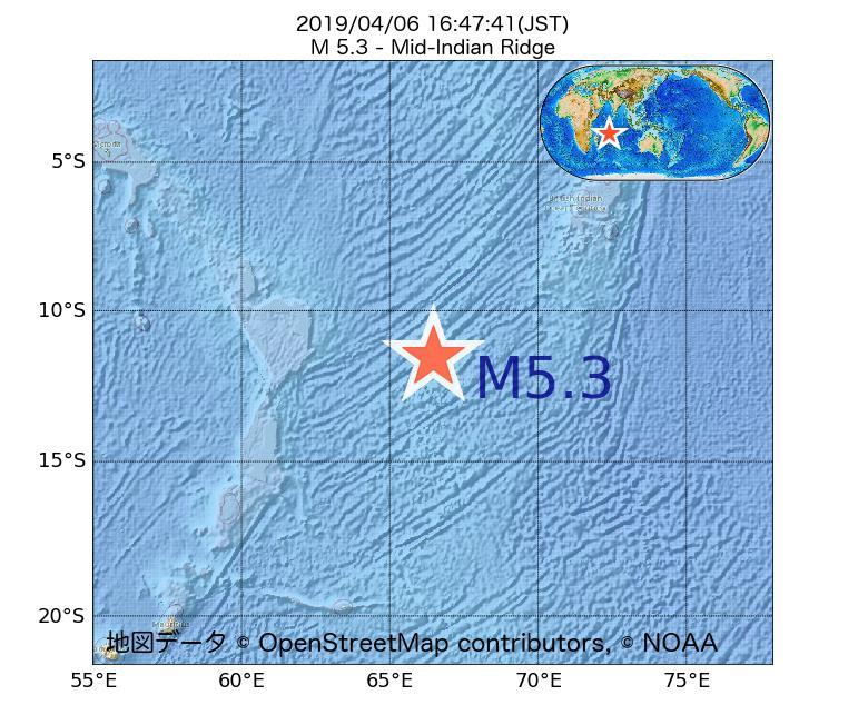 2019年04月06日 16時47分 - インド洋中央海嶺でM5.3