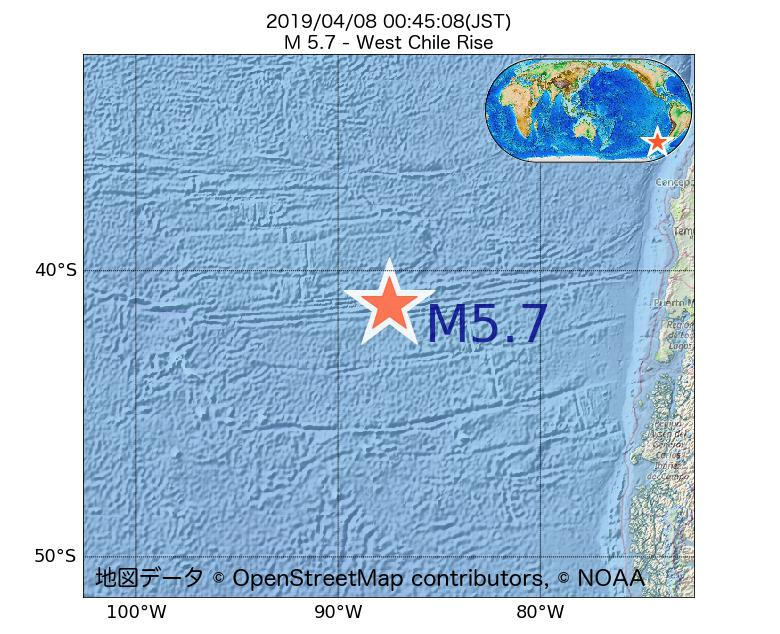 2019年04月08日 00時45分 - ガラパゴス諸島チリ海嶺でM5.7