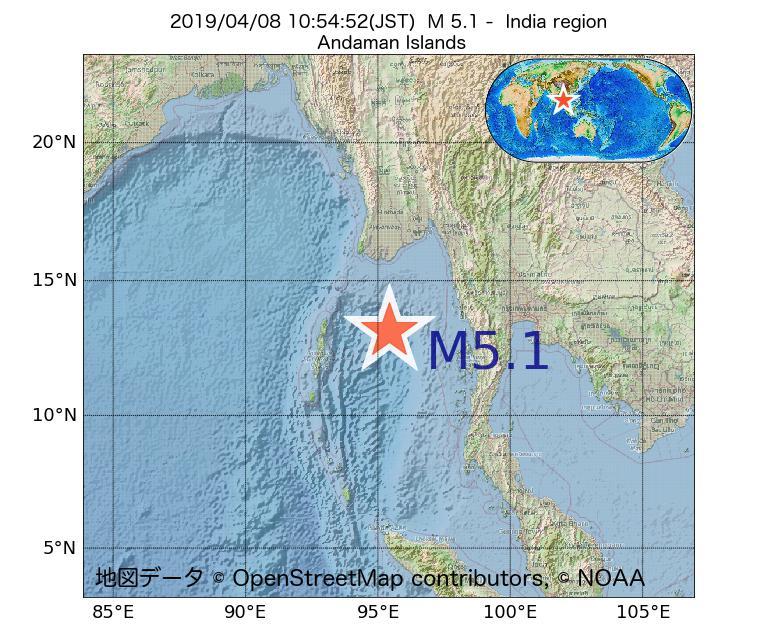 2019年04月08日 10時54分 - インド領域でM5.1