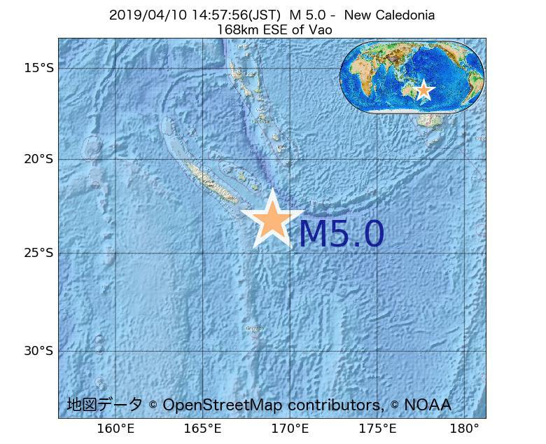 2019年04月10日 14時57分 - ニューカレドニアでM5.0