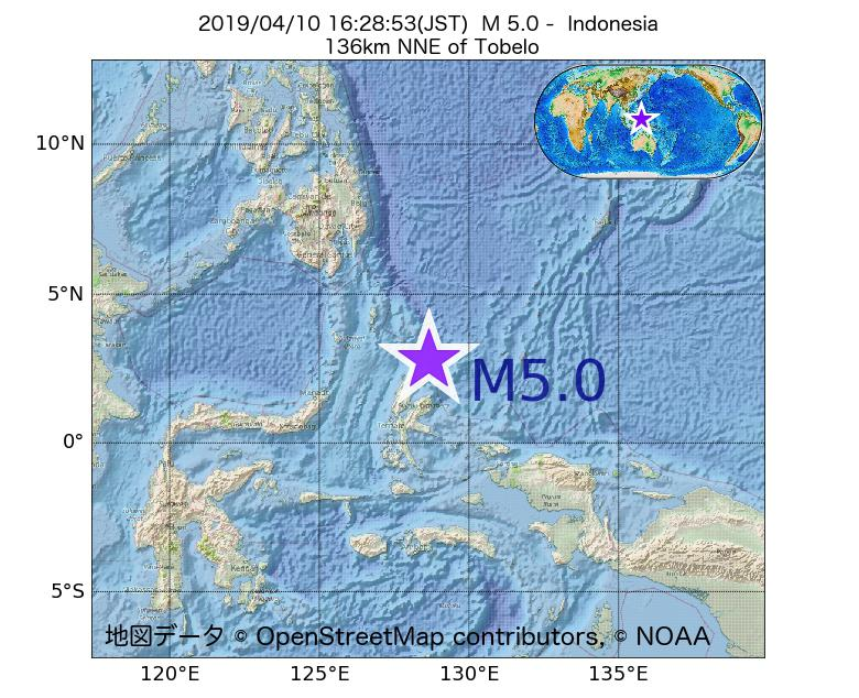 2019年04月10日 16時28分 - インドネシアでM5.0
