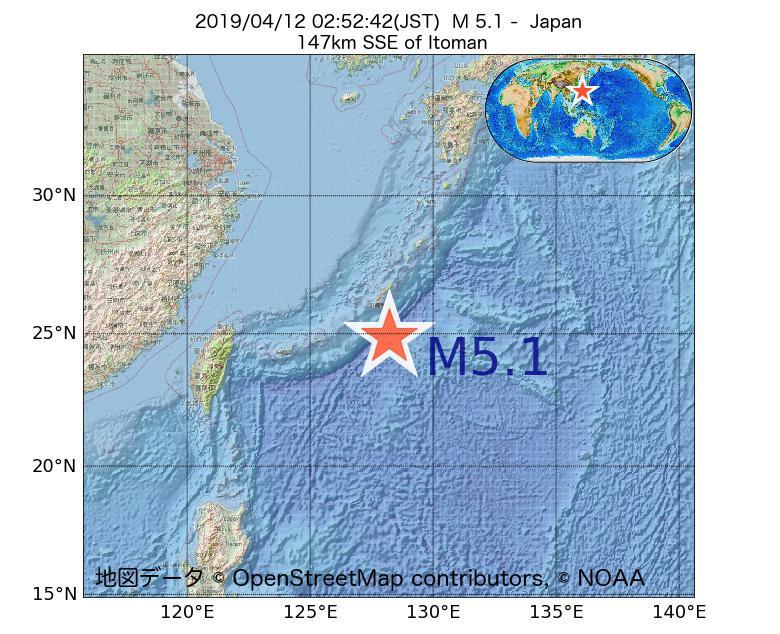 2019年04月12日 02時52分 - 日本でM5.1