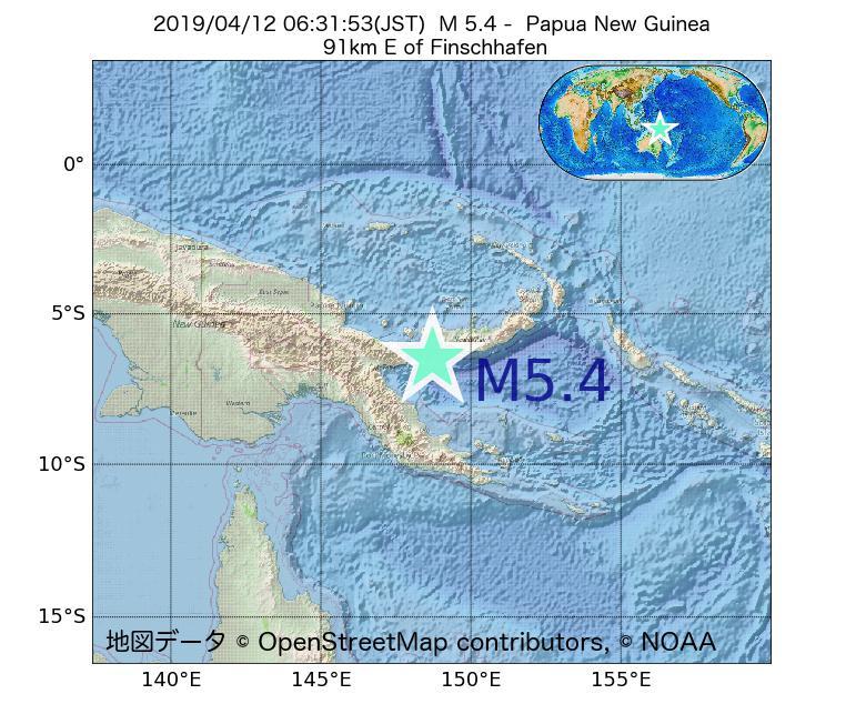 2019年04月12日 06時31分 - パプアニューギニアでM5.4