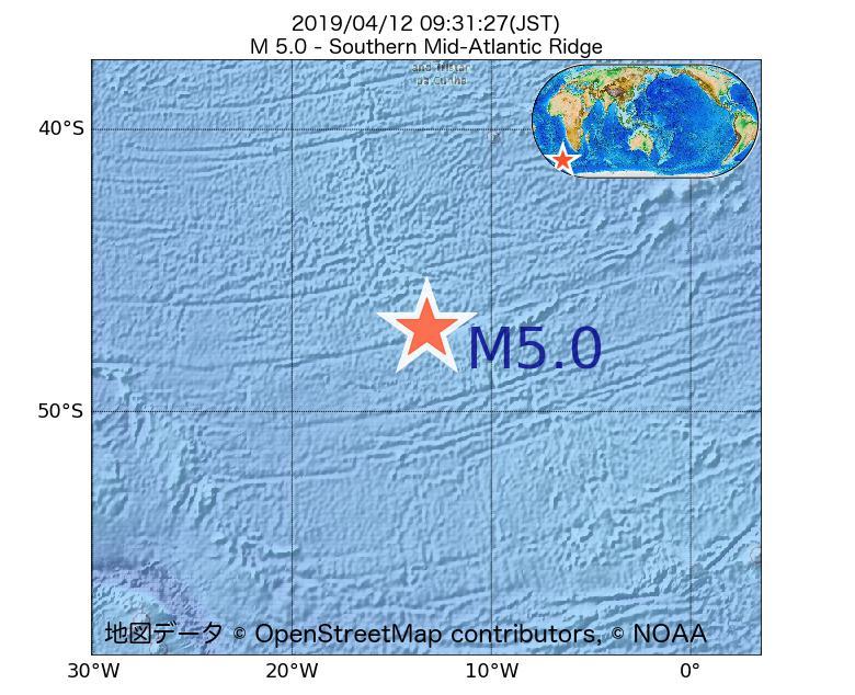 2019年04月12日 09時31分 - 大西洋中央海嶺でM5.0