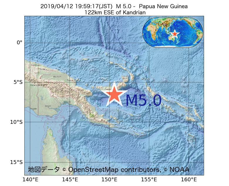 2019年04月12日 19時59分 - パプアニューギニアでM5.0