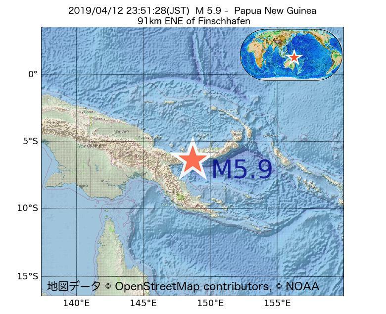 2019年04月12日 23時51分 - パプアニューギニアでM5.9