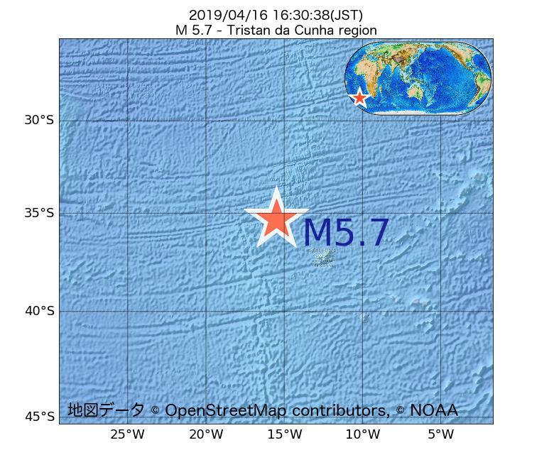 2019年04月16日 16時30分 - トリスタンダクーニャ諸島海域でM5.7