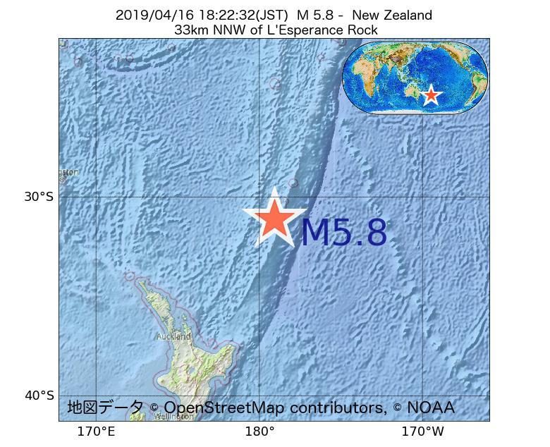 2019年04月16日 18時22分 - ニュージーランドでM5.8