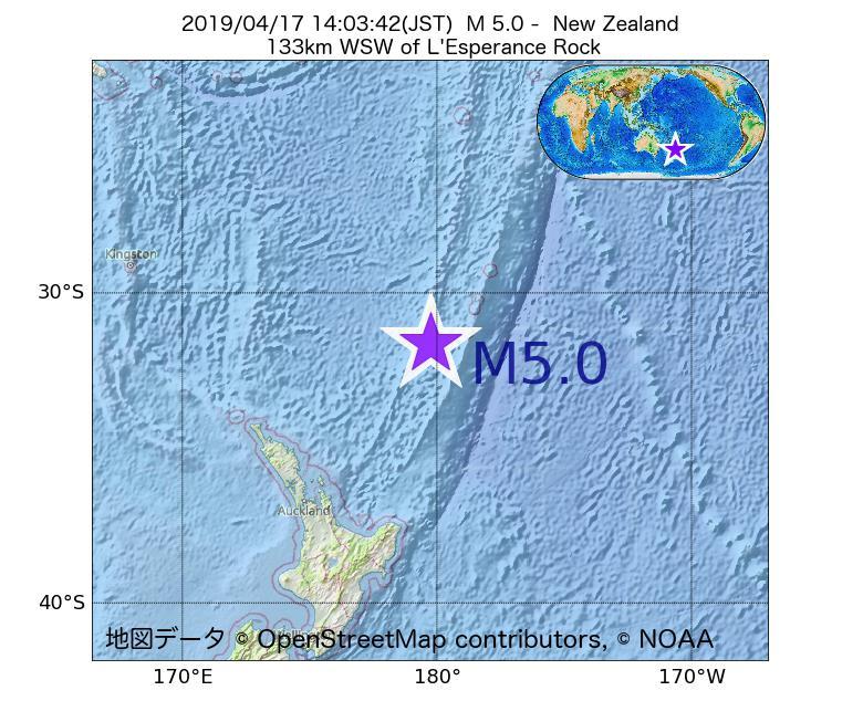 2019年04月17日 14時03分 - ニュージーランドでM5.0