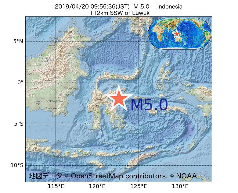 2019年04月20日 09時55分 - インドネシアでM5.0