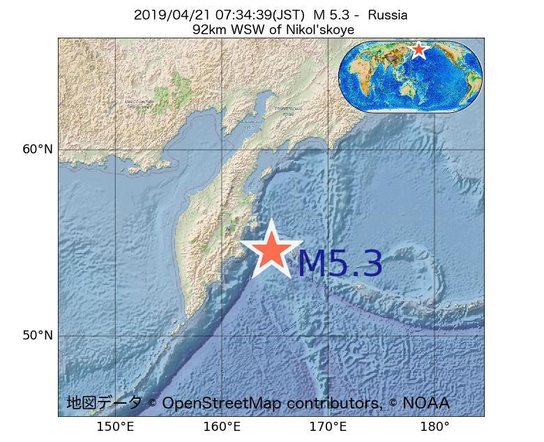 2019年04月21日 07時34分 - ロシアでM5.3