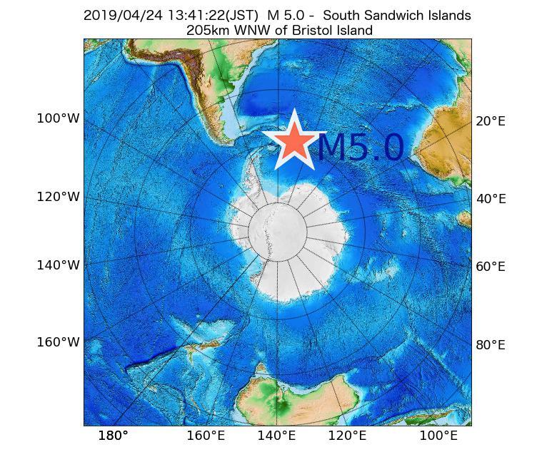 2019年04月24日 13時41分 - サウスサンドウィッチ諸島付近でM5.0