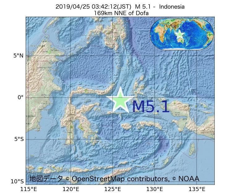 2019年04月25日 03時42分 - インドネシアでM5.1