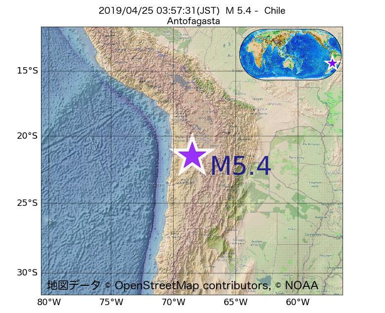 2019年04月25日 03時57分 - チリでM5.4