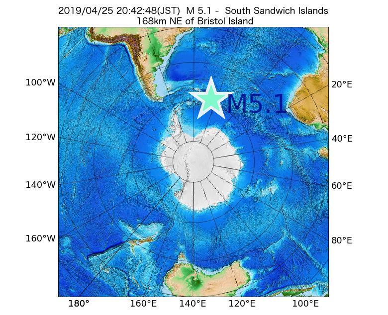 2019年04月25日 20時42分 - サウスサンドウィッチ諸島付近でM5.1