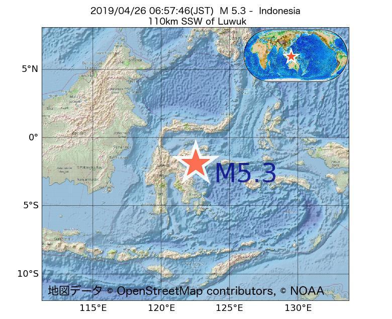 2019年04月26日 06時57分 - インドネシアでM5.3