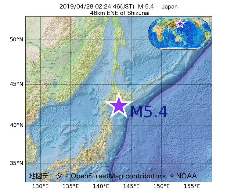2019年04月28日 02時24分 - 日本でM5.4
