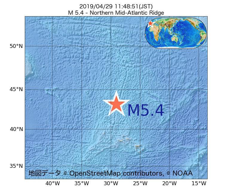 2019年04月29日 11時48分 - 大西洋中央海嶺北部でM5.4