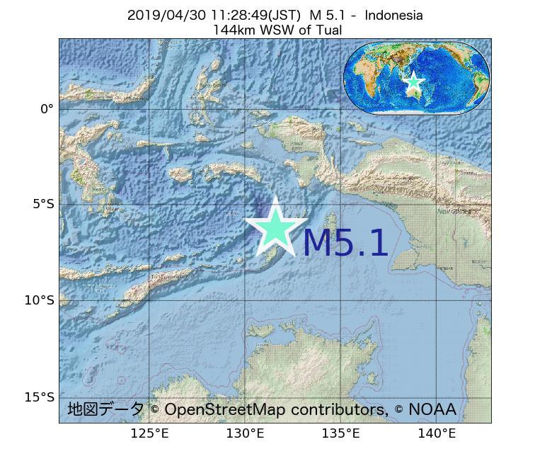 2019年04月30日 11時28分 - インドネシアでM5.1