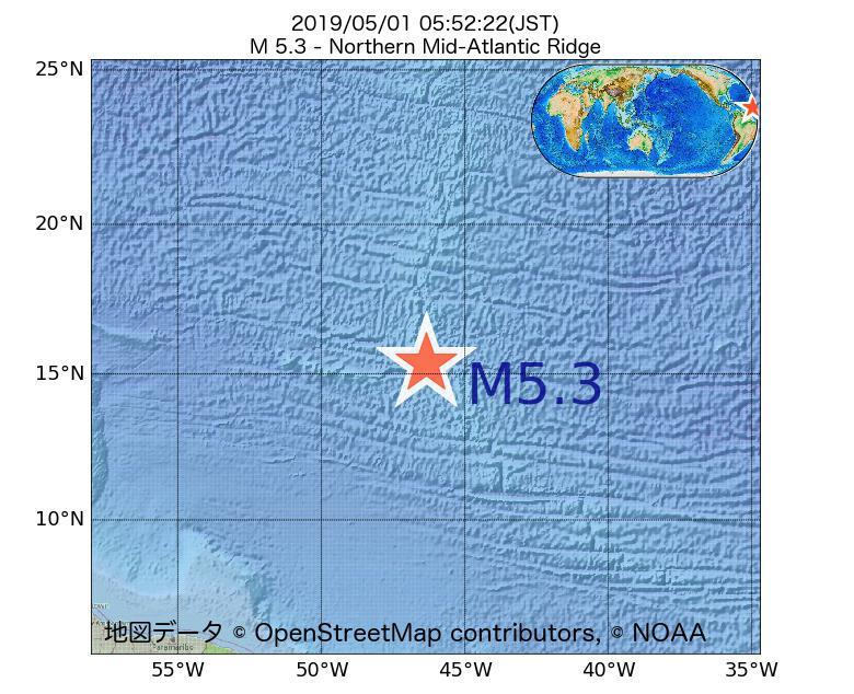2019年05月01日 05時52分 - 大西洋中央海嶺北部でM5.3