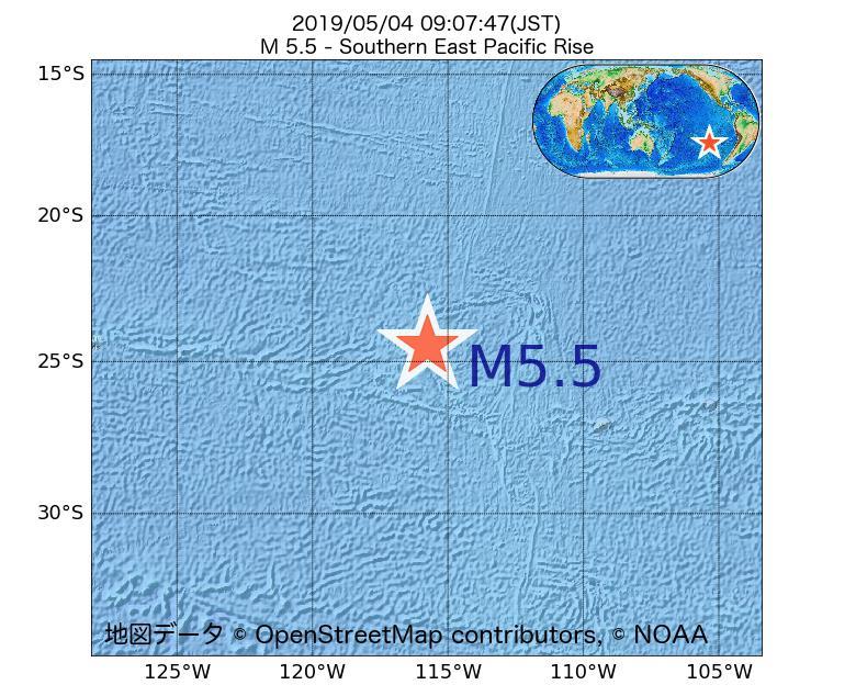 2019年05月04日 09時07分 - 東太平洋海嶺南方でM5.5