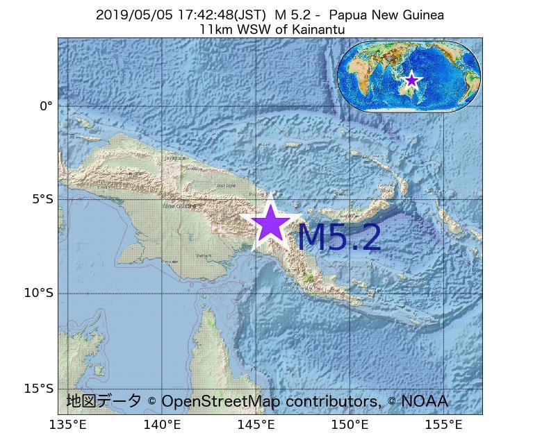 2019年05月05日 17時42分 - パプアニューギニアでM5.2
