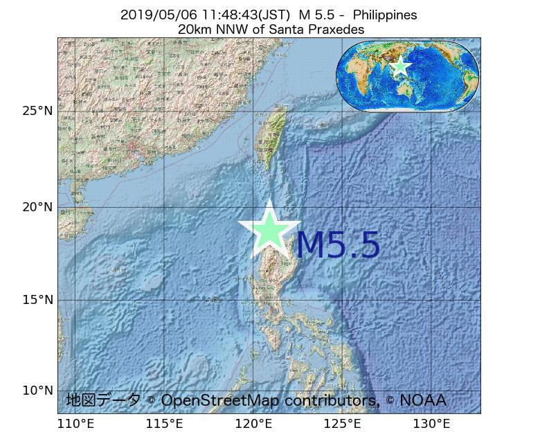 2019年05月06日 11時48分 - フィリピンでM5.5