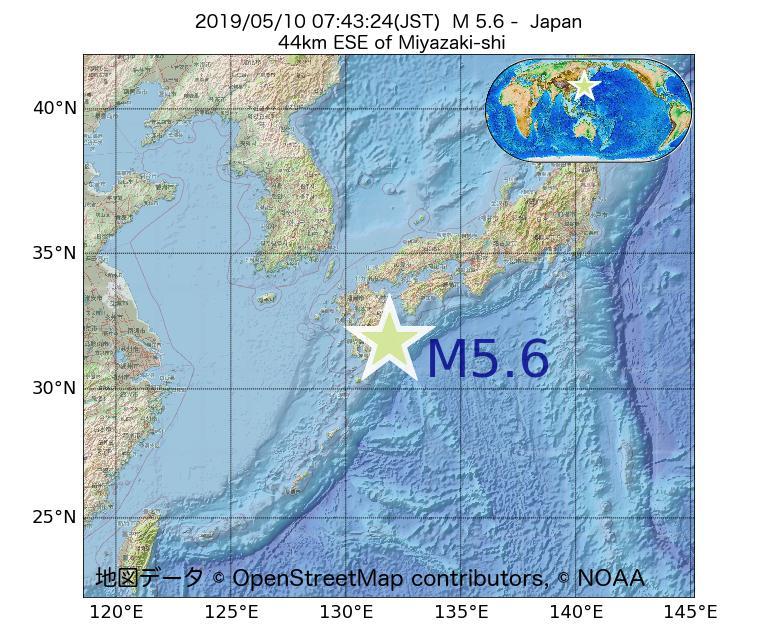 2019年05月10日 07時43分 - 日本でM5.6