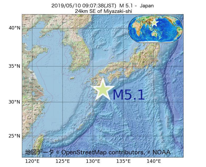 2019年05月10日 09時07分 - 日本でM5.1