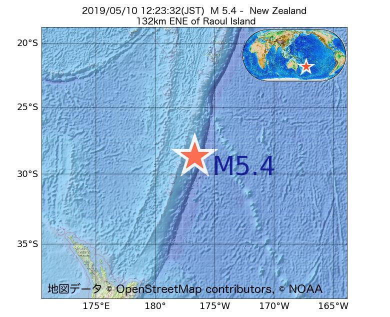 2019年05月10日 12時23分 - ニュージーランドでM5.4