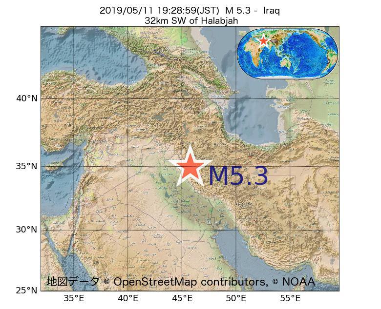 2019年05月11日 19時28分 - イラクでM5.3