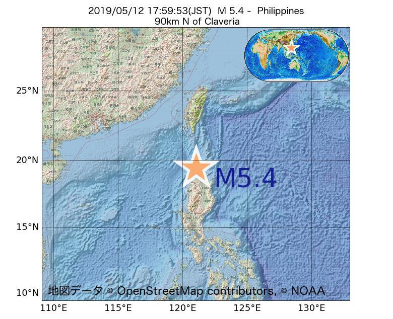 2019年05月12日 17時59分 - フィリピンでM5.4